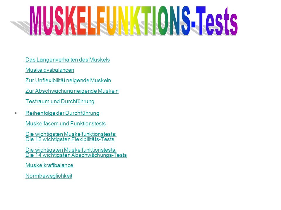 MUSKELFUNKTIONS-Tests