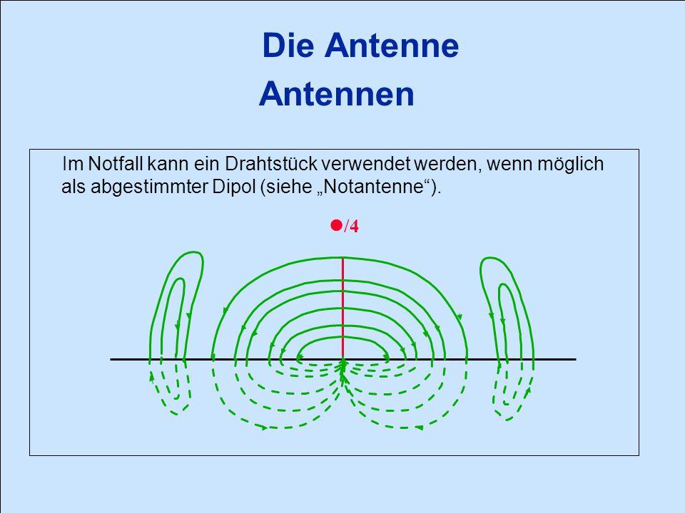 """Die Antenne Antennen Im Notfall kann ein Drahtstück verwendet werden, wenn möglich als abgestimmter Dipol (siehe """"Notantenne )."""