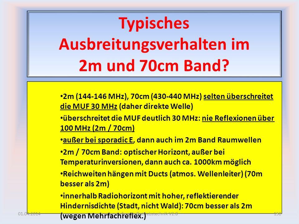 Typisches Ausbreitungsverhalten im 2m und 70cm Band