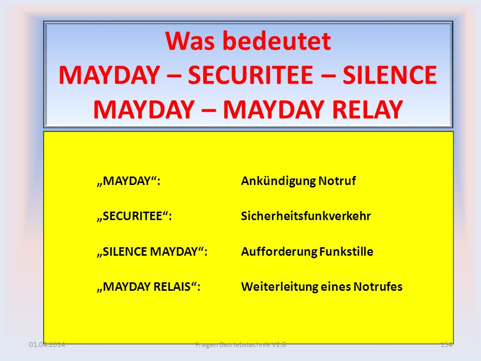 Was bedeutet MAYDAY – SECURITEE – SILENCE MAYDAY – MAYDAY RELAY