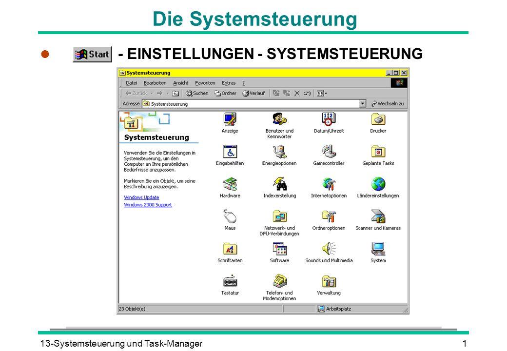 Die Systemsteuerung - EINSTELLUNGEN - SYSTEMSTEUERUNG