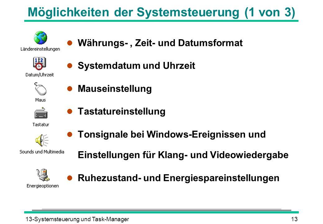 Möglichkeiten der Systemsteuerung (1 von 3)