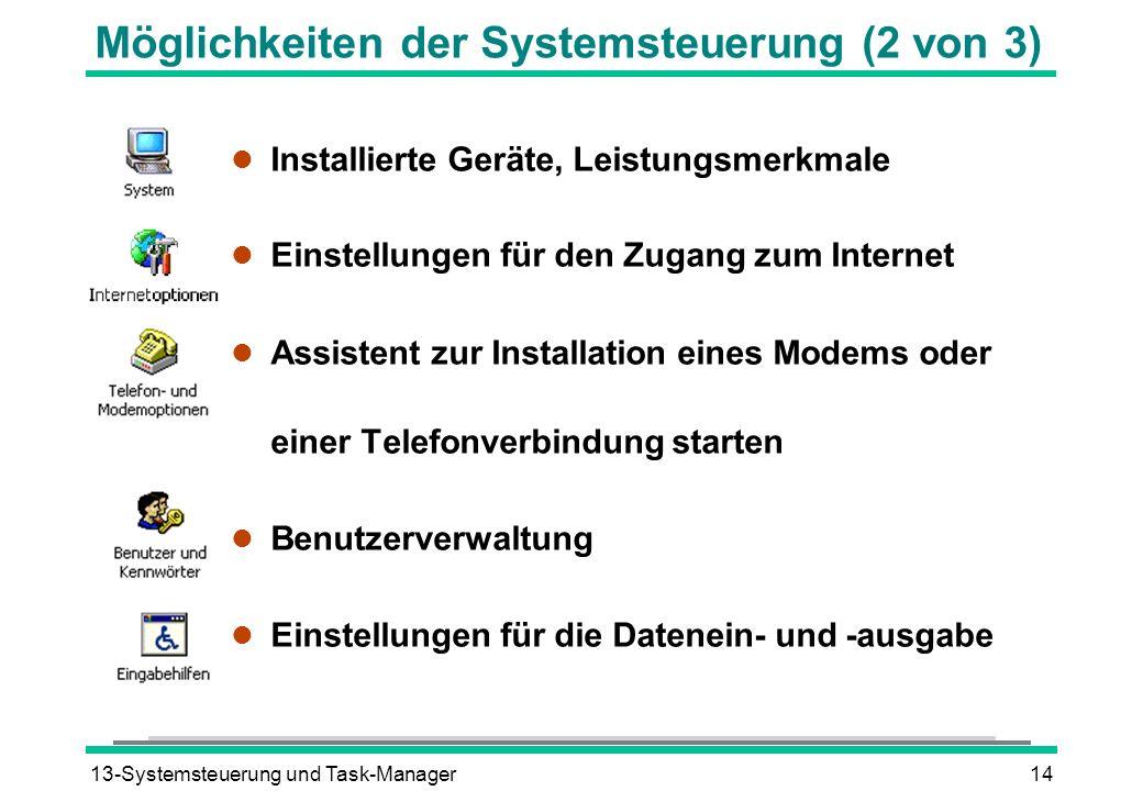 Möglichkeiten der Systemsteuerung (2 von 3)