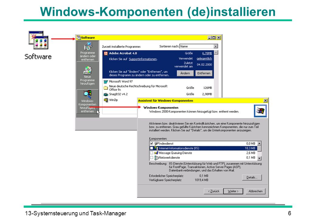 Windows-Komponenten (de)installieren