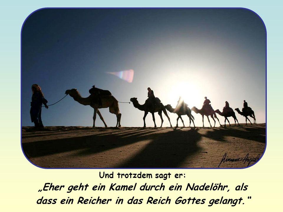 """Und trotzdem sagt er: """"Eher geht ein Kamel durch ein Nadelöhr, als dass ein Reicher in das Reich Gottes gelangt."""