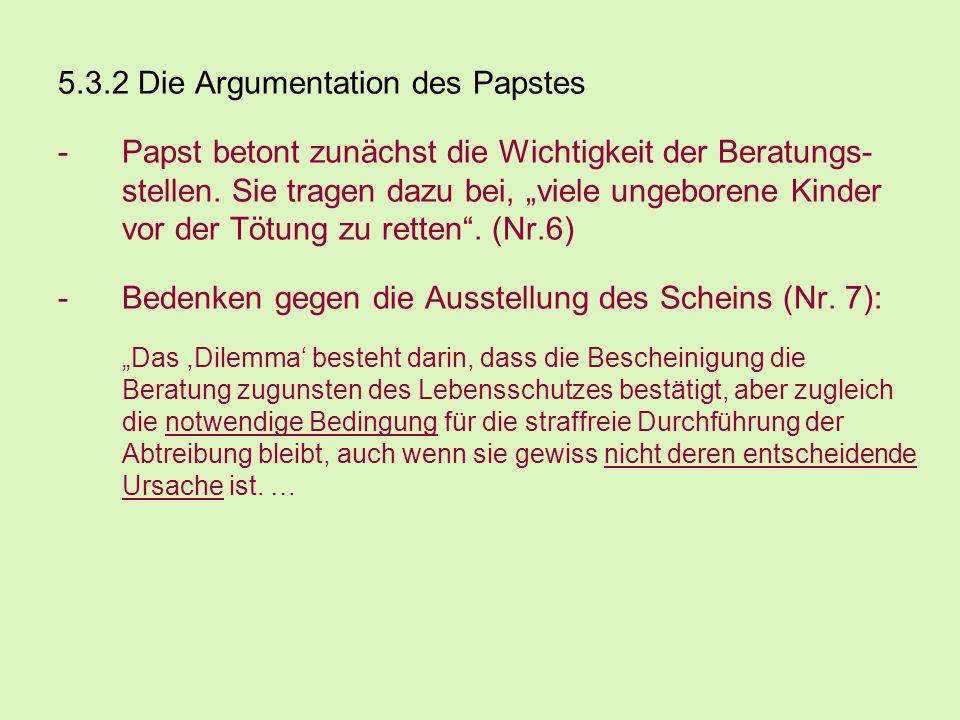 5.3.2 Die Argumentation des Papstes