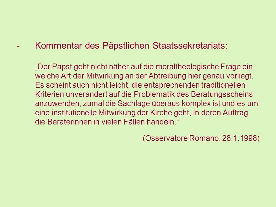 Kommentar des Päpstlichen Staatssekretariats: