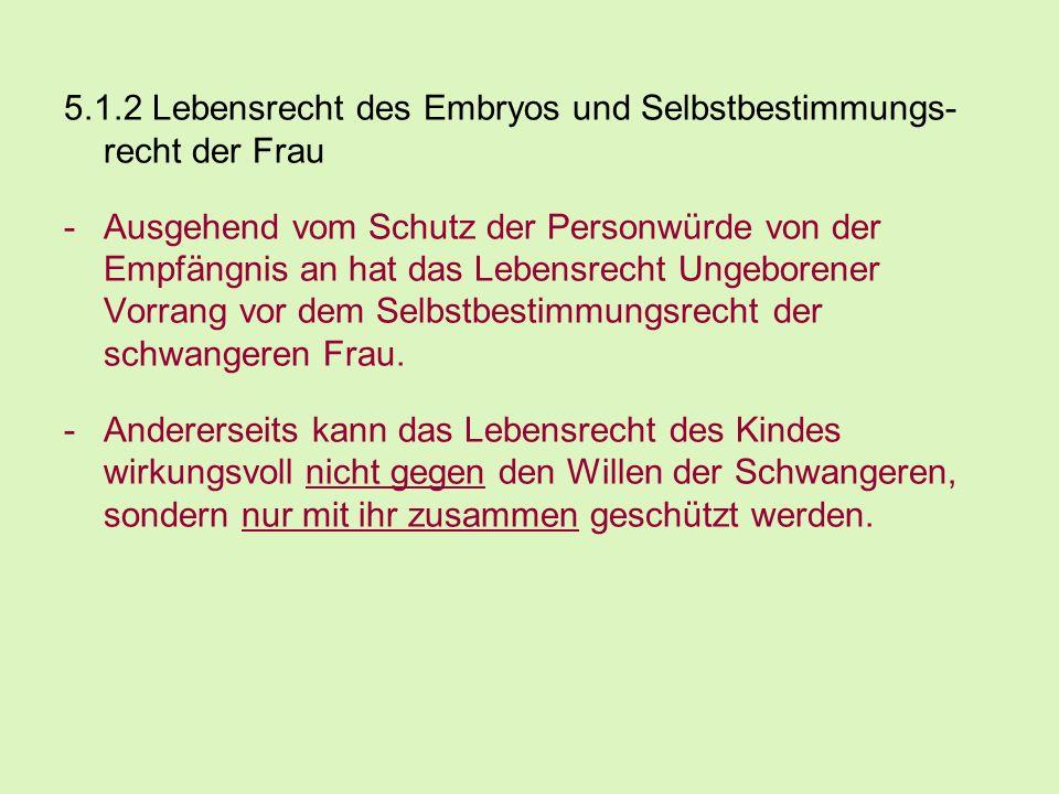 5.1.2 Lebensrecht des Embryos und Selbstbestimmungs- recht der Frau