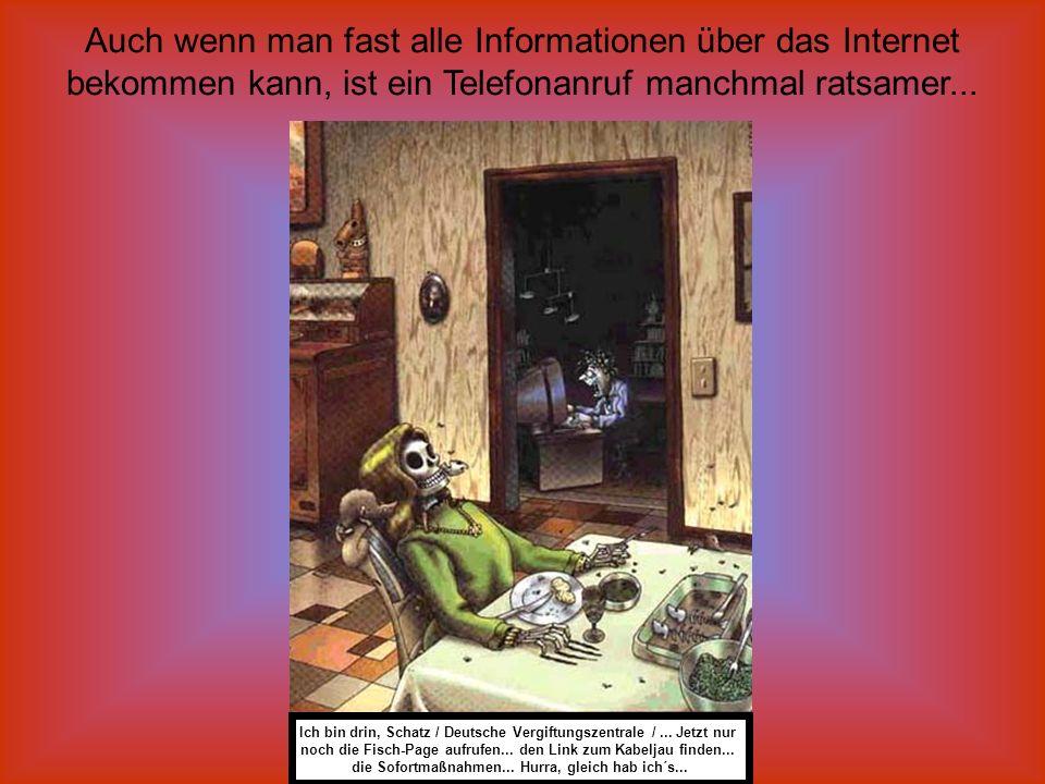 Auch wenn man fast alle Informationen über das Internet bekommen kann, ist ein Telefonanruf manchmal ratsamer...