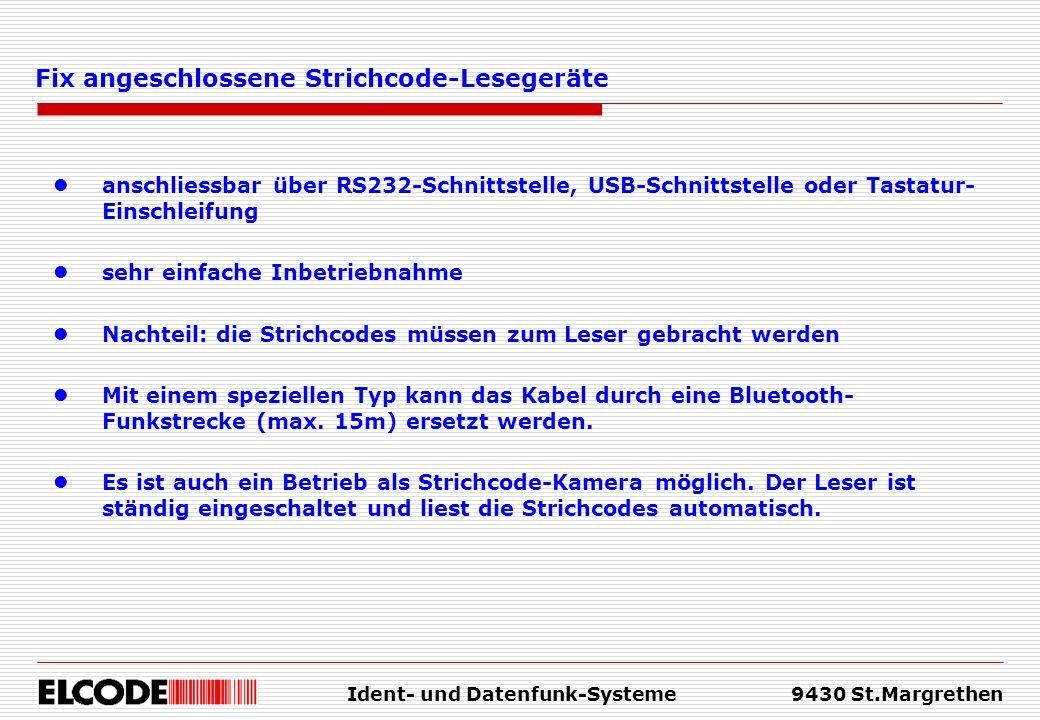 Fix angeschlossene Strichcode-Lesegeräte