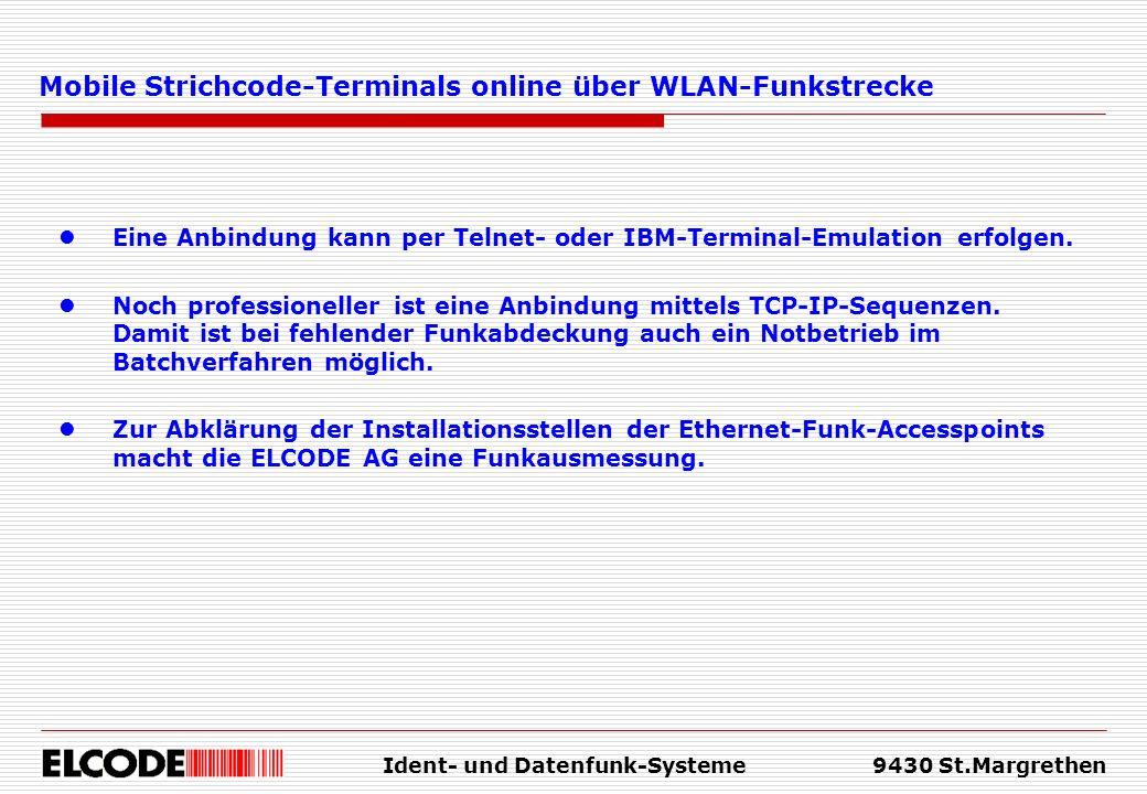 Mobile Strichcode-Terminals online über WLAN-Funkstrecke