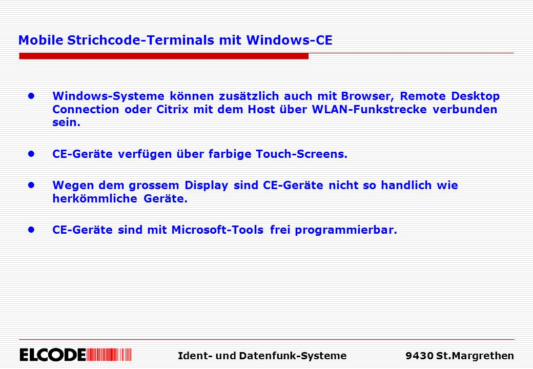 Mobile Strichcode-Terminals mit Windows-CE