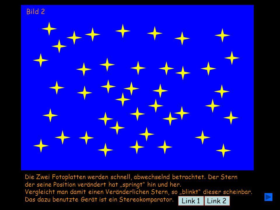 """Bild 1 Bild 2. Die Zwei Fotoplatten werden schnell, abwechselnd betrachtet. Der Stern. der seine Position verändert hat """"springt hin und her."""