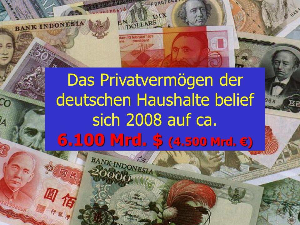 Das Privatvermögen der deutschen Haushalte belief sich 2008 auf ca. 6