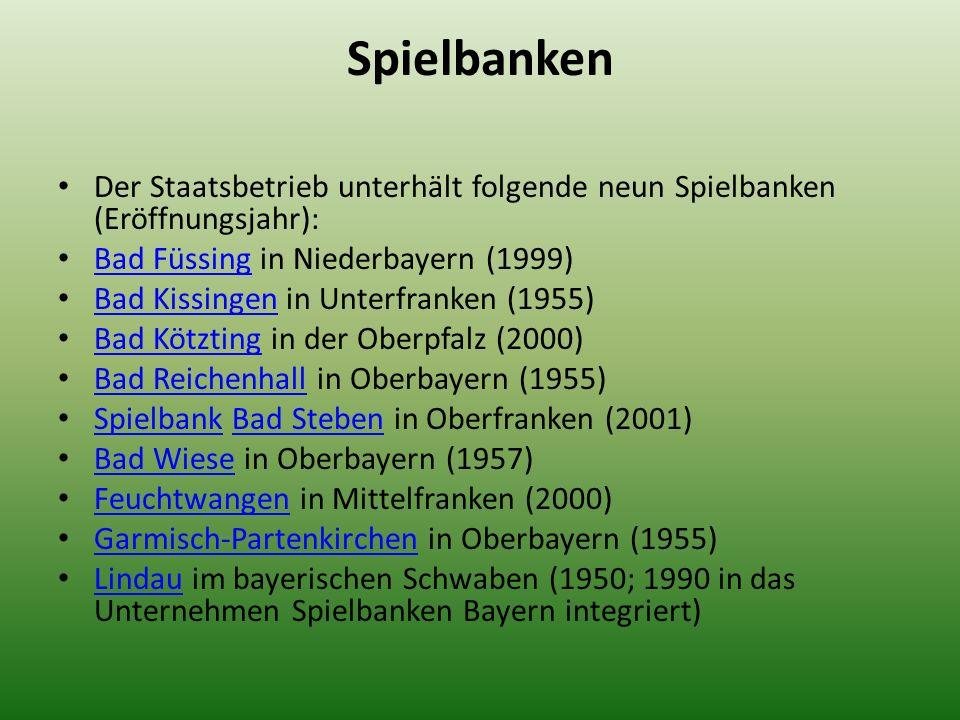 SpielbankenDer Staatsbetrieb unterhält folgende neun Spielbanken (Eröffnungsjahr): Bad Füssing in Niederbayern (1999)