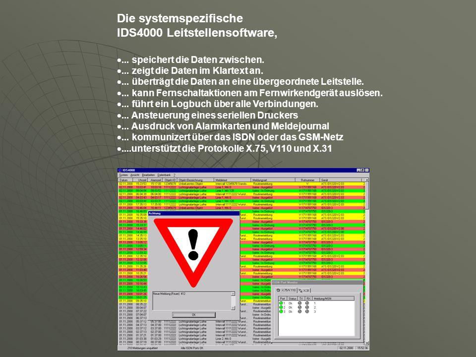 Die systemspezifische IDS4000 Leitstellensoftware,