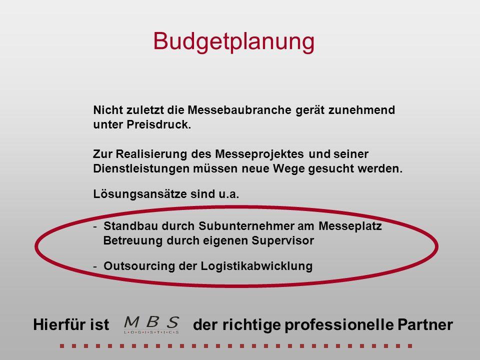Budgetplanung Hierfür ist der richtige professionelle Partner