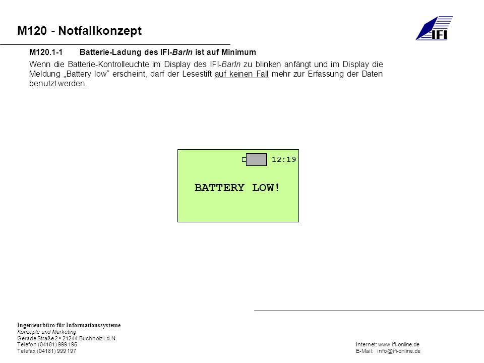 M120.1-1 Batterie-Ladung des IFI-BarIn ist auf Minimum