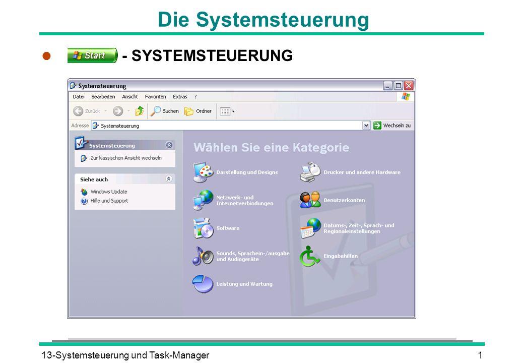Die Systemsteuerung - SYSTEMSTEUERUNG