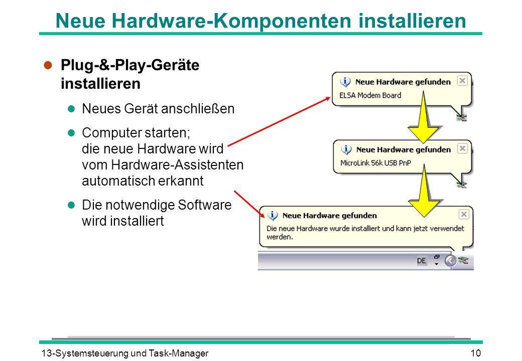 Neue Hardware-Komponenten installieren