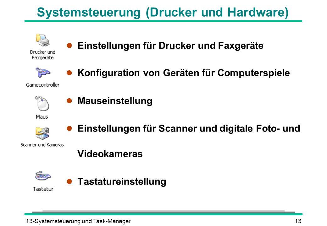 Systemsteuerung (Drucker und Hardware)