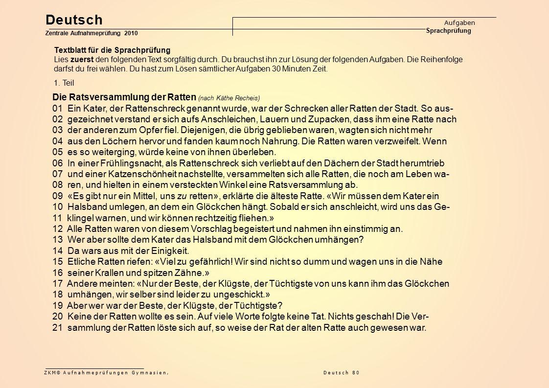 Deutsch Die Ratsversammlung der Ratten (nach Käthe Recheis)