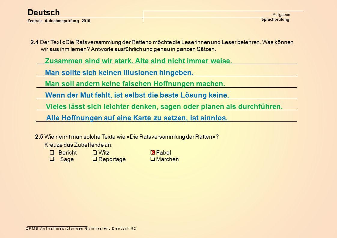 Deutsch Zusammen sind wir stark. Alte sind nicht immer weise.