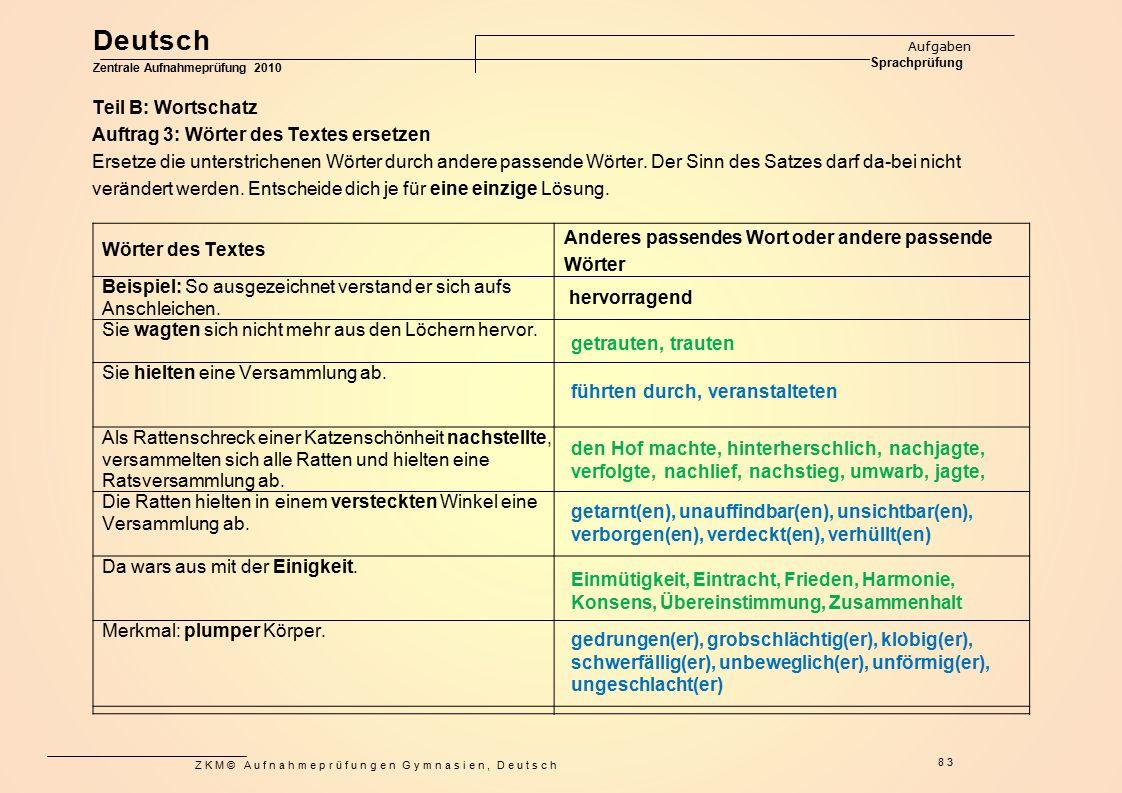 Deutsch Teil B: Wortschatz
