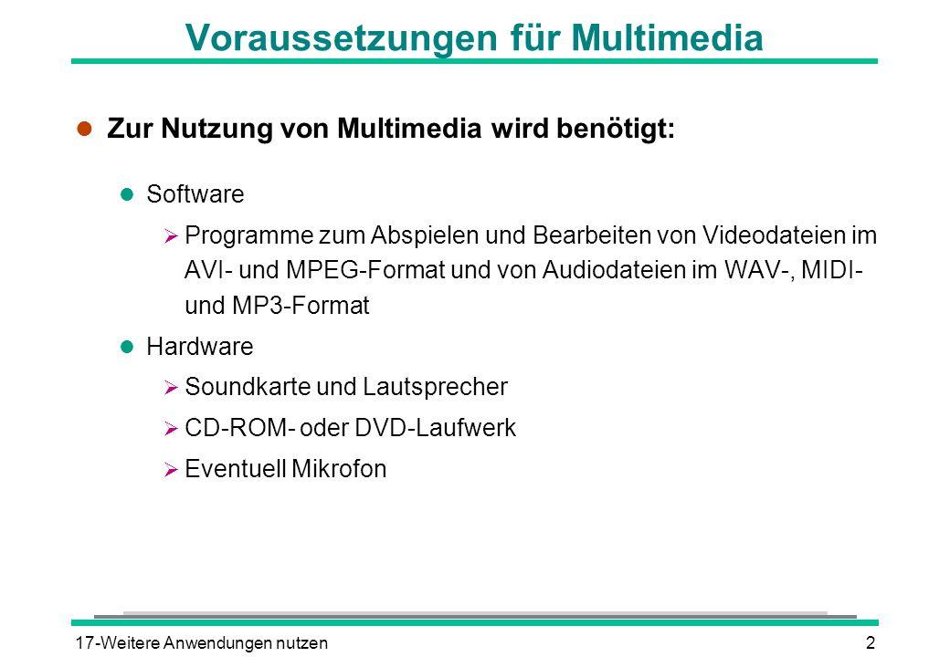 Voraussetzungen für Multimedia