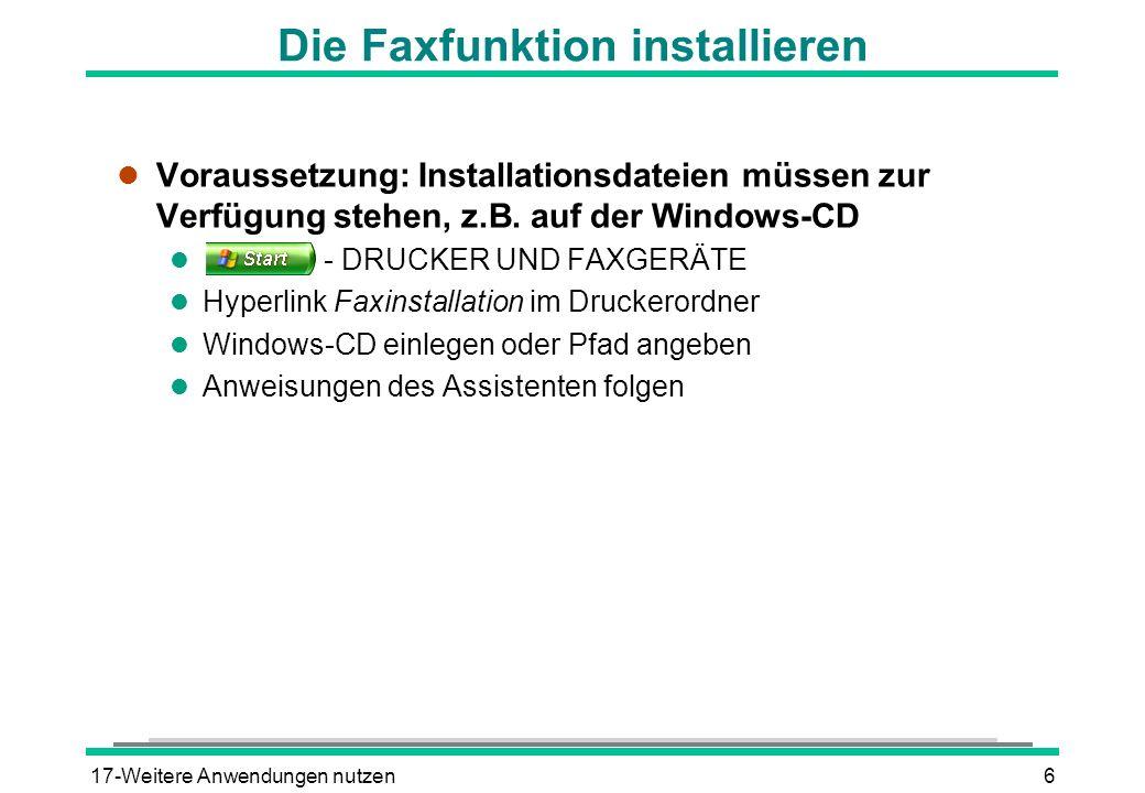 Die Faxfunktion installieren