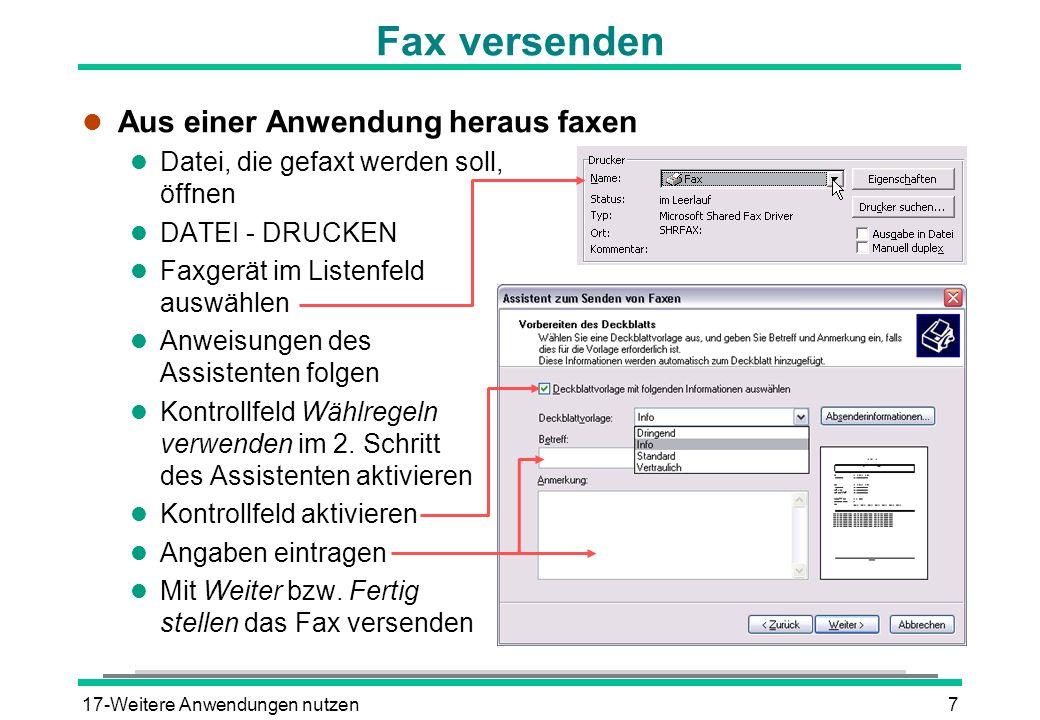 Fax versenden Aus einer Anwendung heraus faxen