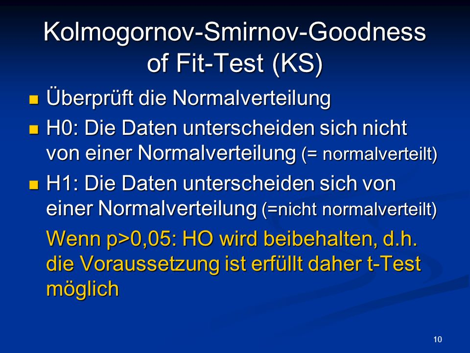 Kolmogornov-Smirnov-Goodness of Fit-Test (KS)