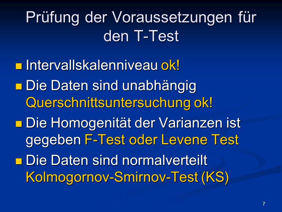 Prüfung der Voraussetzungen für den T-Test