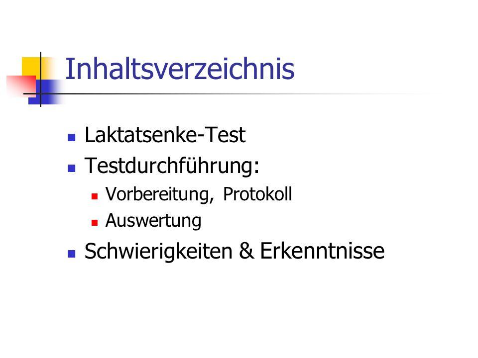 Inhaltsverzeichnis Laktatsenke-Test Testdurchführung: