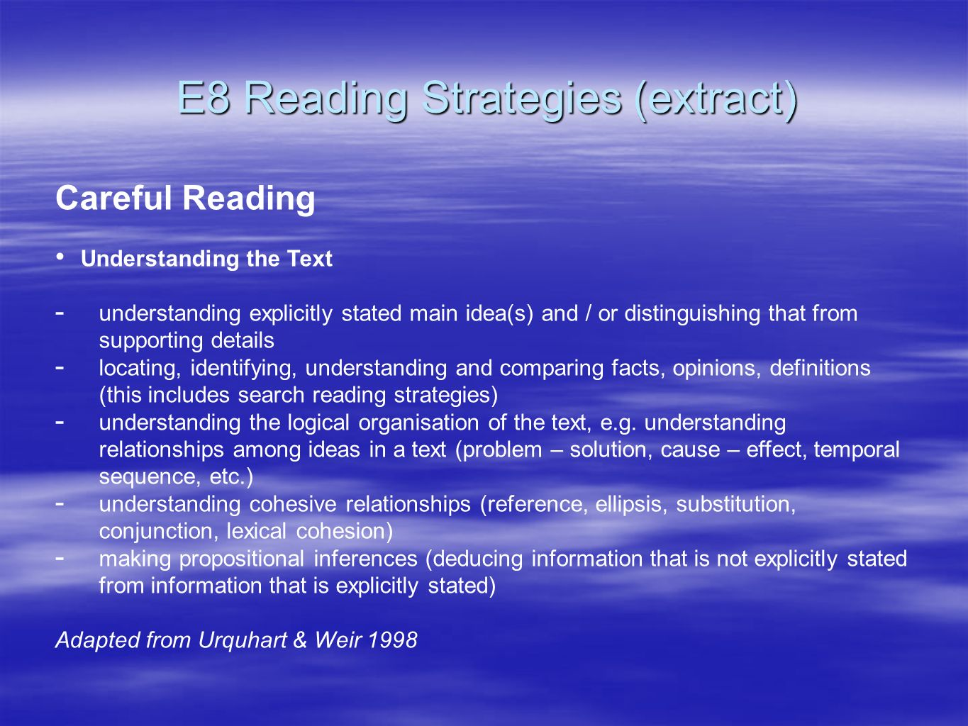 E8 Reading Strategies (extract)