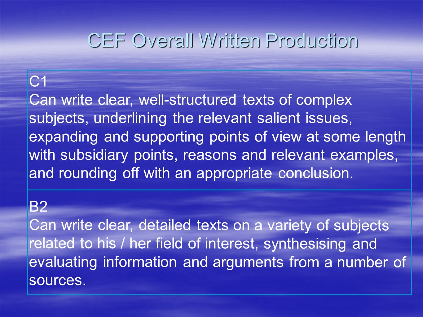 CEF Overall Written Production