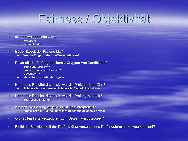 Fairness / Objektivität