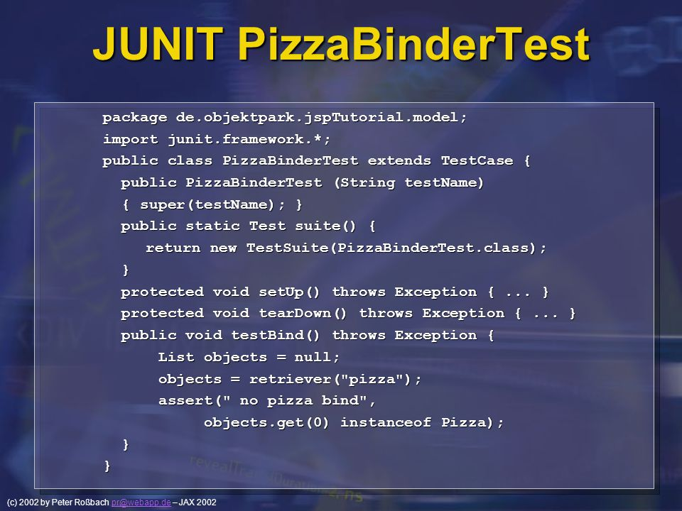 JUNIT PizzaBinderTest