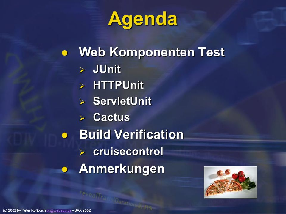 Agenda Web Komponenten Test Build Verification Anmerkungen JUnit