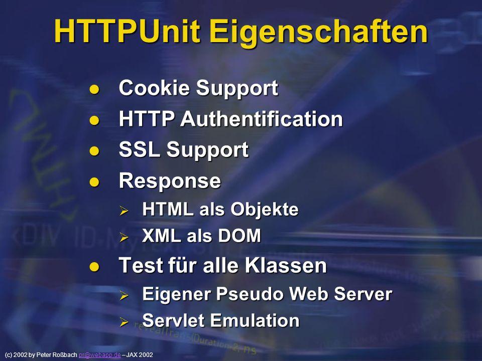 HTTPUnit Eigenschaften