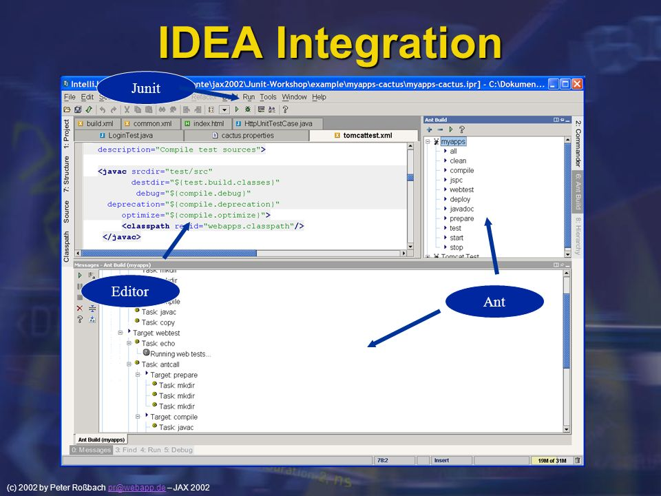 IDEA Integration Junit Editor Ant