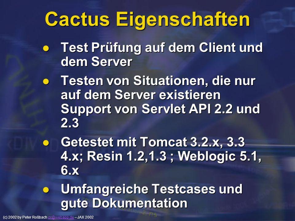 Cactus Eigenschaften Test Prüfung auf dem Client und dem Server