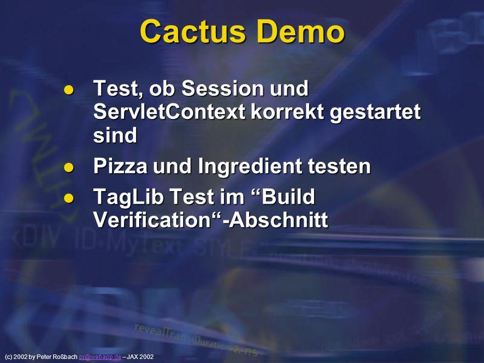 Cactus Demo Test, ob Session und ServletContext korrekt gestartet sind