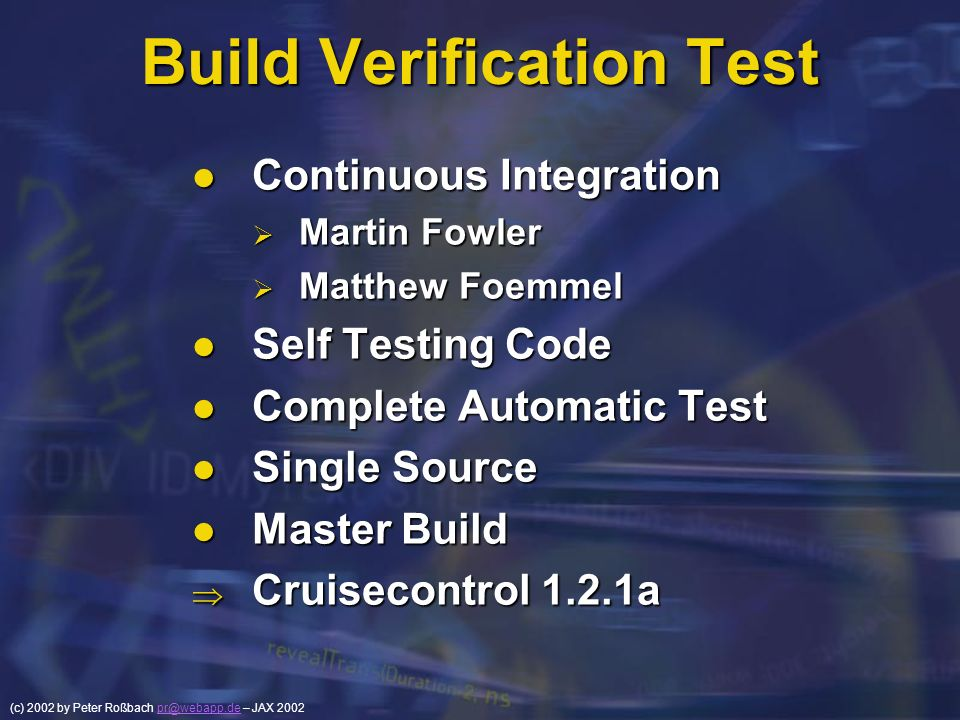 Build Verification Test