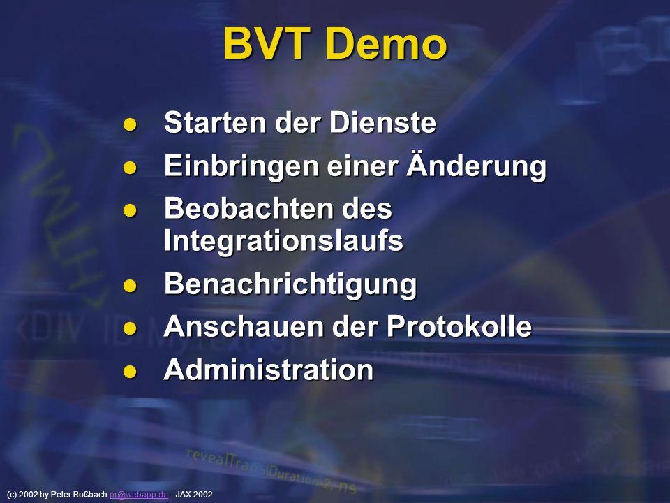 BVT Demo Starten der Dienste Einbringen einer Änderung