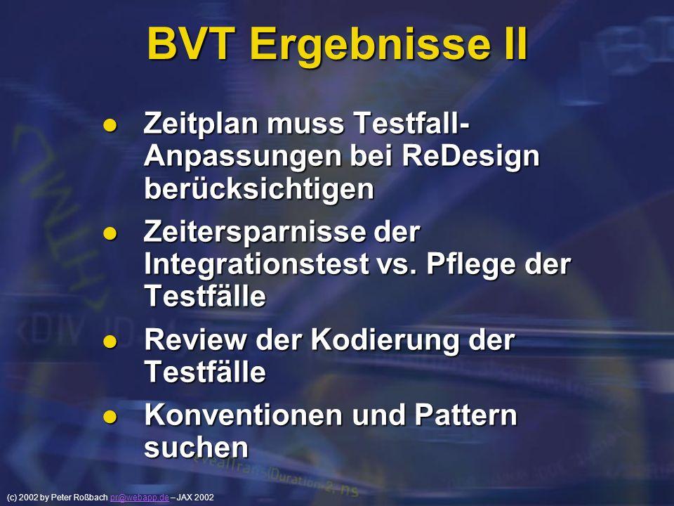 BVT Ergebnisse II Zeitplan muss Testfall- Anpassungen bei ReDesign berücksichtigen. Zeitersparnisse der Integrationstest vs. Pflege der Testfälle.