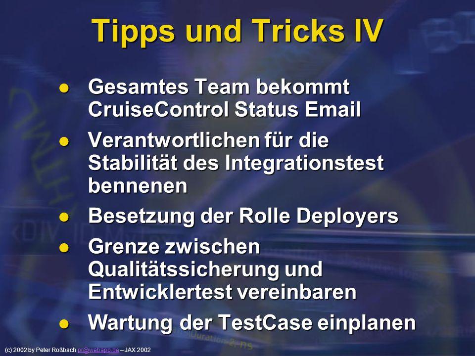 Tipps und Tricks IV Gesamtes Team bekommt CruiseControl Status Email