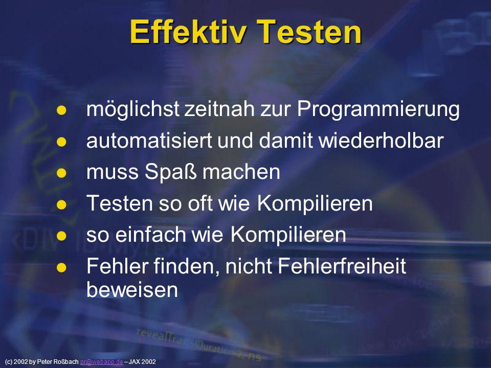 Effektiv Testen möglichst zeitnah zur Programmierung