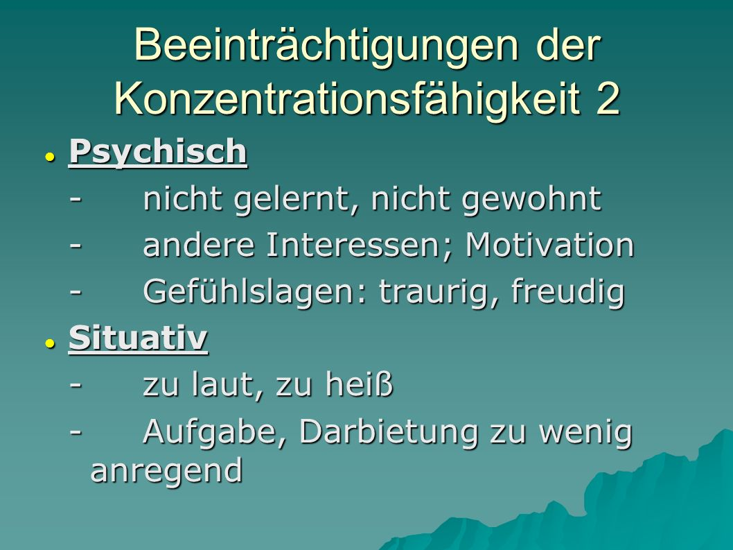Beeinträchtigungen der Konzentrationsfähigkeit 2