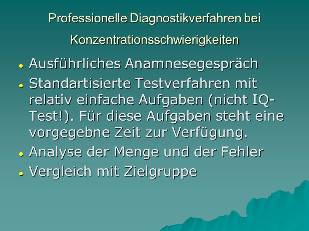 Professionelle Diagnostikverfahren bei Konzentrationsschwierigkeiten
